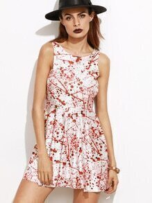 White Blood Print Sleeveless Dress