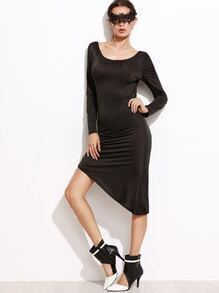 Black Backless Split Side Asymmetrical Dress