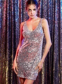 Silver Deep V Neck Sequin Bodycon Dress