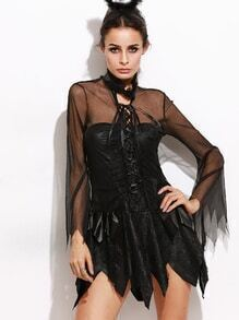 Black Lace Up Halloween Dress With Mesh Sleeve