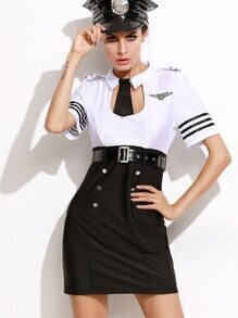 Black And White 2 In 1 Dress Policemen Halloween Costumes