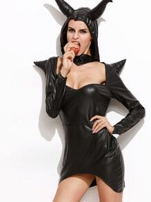 Black Hooded Faux Leather Asymmetrical Dress Witch Halloween Costumes