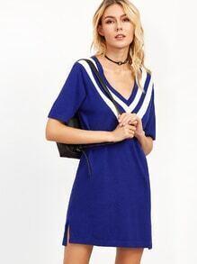 Royal Blue V Striped Trim Slit Side Sweater Dress