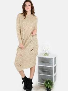 Frayed Knit Sweater Dress TAUPE