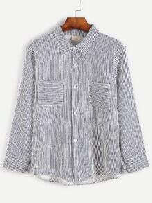 Dark Blue Striped Pockets Shirt