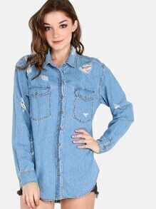 Distressed Flannel Button Up Top LIGHT DENIM