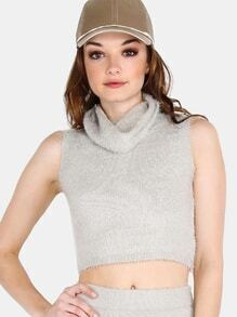 Sleeveless Turtleneck Fuzzy Knit Crop Top GREY