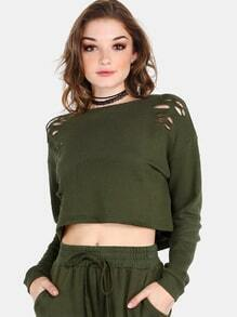 Distressed Cropped Pullover OLIVE
