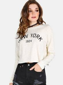 Cropped New York Pullover OATMEAL