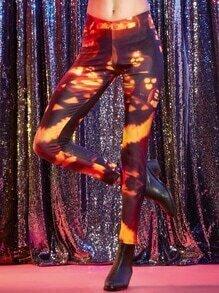 Black Pumpkin Print Skinny Leggings