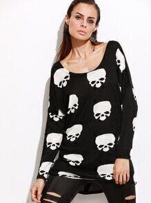 Black Skull Print Single Breasted Back T-shirt