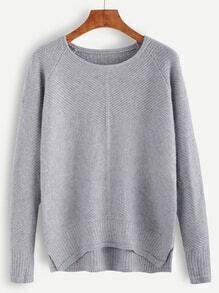 Grey Raglan Sleeve High Low Sweater