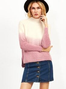 Ombre Raglan Sleeve Split Side Sweater