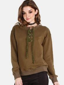 Eyelet Lace Up Pullover OLIVE