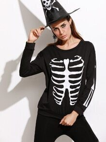 Black Skull Print Long Sleeve Sweatshirt