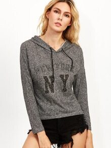 Dark Grey Rhinestone Letter Drawstring Hooded Sweatshirt