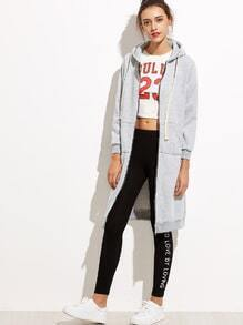 Grey Hooded Long Sweatshirt