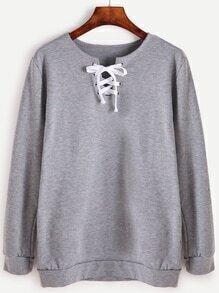Grey Lace Up Front Long Sleeve Sweatshirt