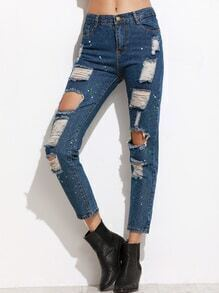 Blue Ripped Denim Pants