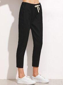 Black Drawstring Waist Pants