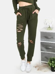 Distressed Waist Tie Sweatpants OLIVE