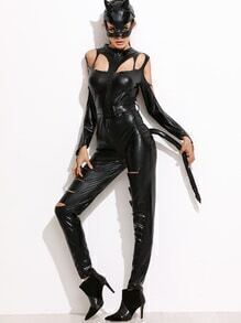 Black Faux Leather Jumpsuit Halloween Costumes With Mask