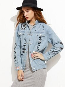 Blue Graffiti Print Denim Jacket