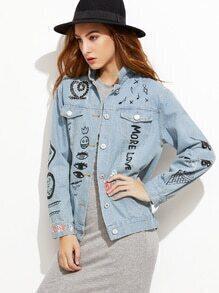 Blue Graffiti Print Denim Jacket