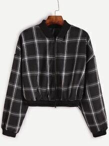Black Grid Drop Shoulder Crop Zipper Jacket