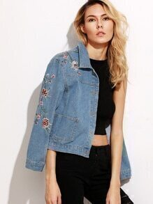 Blue Flower Embroidered Crop Denim Jacket