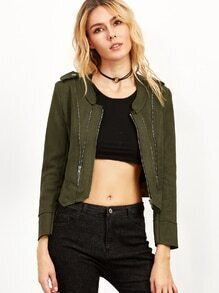 Army Green Asymmetric Hem Zipper Jacket