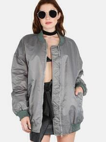 Distressed Longline Bomber Jacket GREY