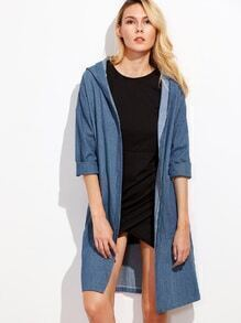 Blue Drop Shoulder Hooded Denim Coat