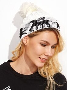Black And White Christmas Pom Pom Knit Hat