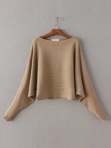 Khaki Boat Neck Dolman Sleeve Sweater