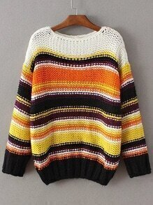 Striped Long Sleeve Loose Sweater