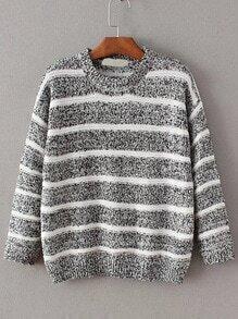 Black Contrast Striped Crew Neck Sweater