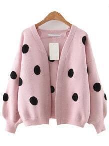 Pink Polka Dot Lantern Sleeve Sweater Coat