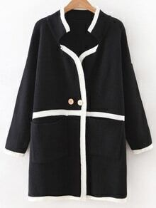 Black Contrast Striped Sweater Coat With Buttons