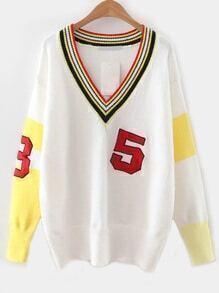 White Color Block V Neck Varsity Sweater