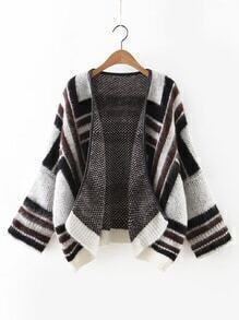 Black Contrast Ribbed Trim Dolman Sleeve Sweater Coat