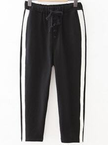 Black Striped Side Drawstring Waist Sports Pants