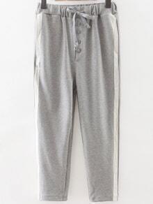 Grey Striped Side Drawstring Waist Sports Pants