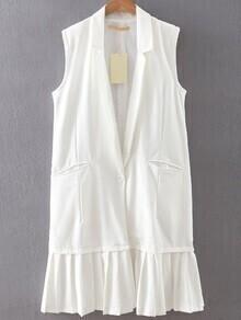White Single Button Pleated Hem Vest
