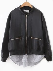 Black Contrast Hem Zipper Pocket Flight Jacket