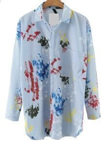 Blue Printed Blouse With Pocket