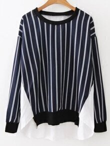 Navy Contrast Vertical Striped Blouse