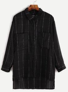 Black Dip Hem Grid Pockets Chiffon Blouse