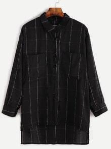Black Dip Hem Grid Pockets Chiffon Blouse