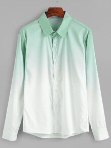Ombre High Low Button Shirt